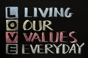 11714636 - love acronym, living our values everyday on a blackboard